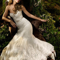 Ivory alencon lace net formal bridal gown
