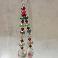 Long glass beads earrings