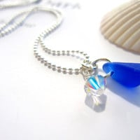 Royal Blue Seaglass Necklace with Clear Swarovski Crsyatl  - Perfect  Bridal Jewlery - Something Blue in Beach wedding - FREE SHIPPING