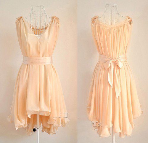 Angelic Spring. Peach Chiffon Wavy Hem Sleeveless Dress. Bridesmaids
