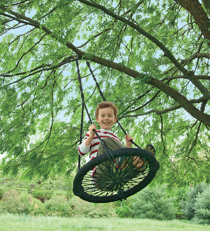 Round And Round Outdoor Swing, Woven Rope Swing - Magic Cabin