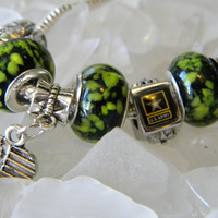 Murano Charm Bracelet - Army &quot;Gone Green&quot;  Logo Murano glass bead and european charm bracelet