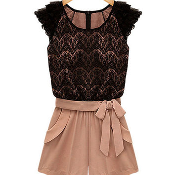 Lace Color-Blocked Belted Short Jumpsuits