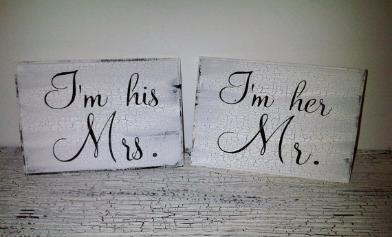 "Mr & Mrs Wedding Signs, Chair Signs, Ready to Ship - ""I'm Her Mr and I'm His Mrs"""