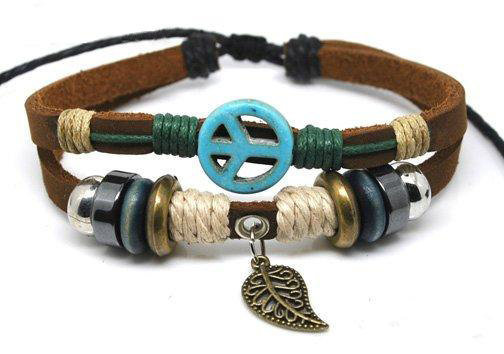 10% OFF Blue Anti-war peace peaceful  Adjustable Couple bracelets Cuff made of Brown Leather Ropes and Color Wooden Beads  239S