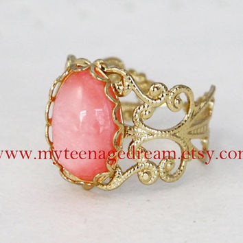 vintage style gem adjustable golden ring