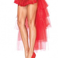 Leg Avenue Burlesque Lingerie A1698 - Long Red Tulle Bustle Skirt with Gathered Lace Front & Satin Bow Accent