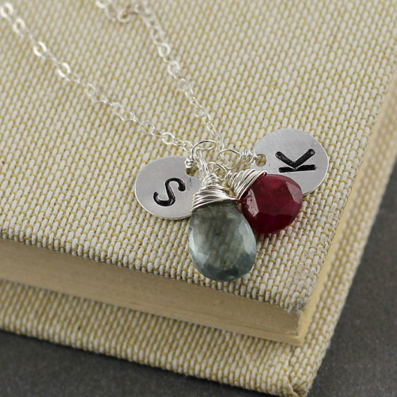 Monogram Necklace, March Birthstone Moss Aquamarine Necklace, July Birthstone Ruby, Couple Necklace, Mother Daughter, Son Necklace Sterling