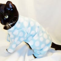 CoolCats  Aqua and White Polka Dot Fleece Pajamas for Cats