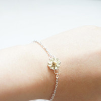 Tiny Light Yellow Daisy Bracelet