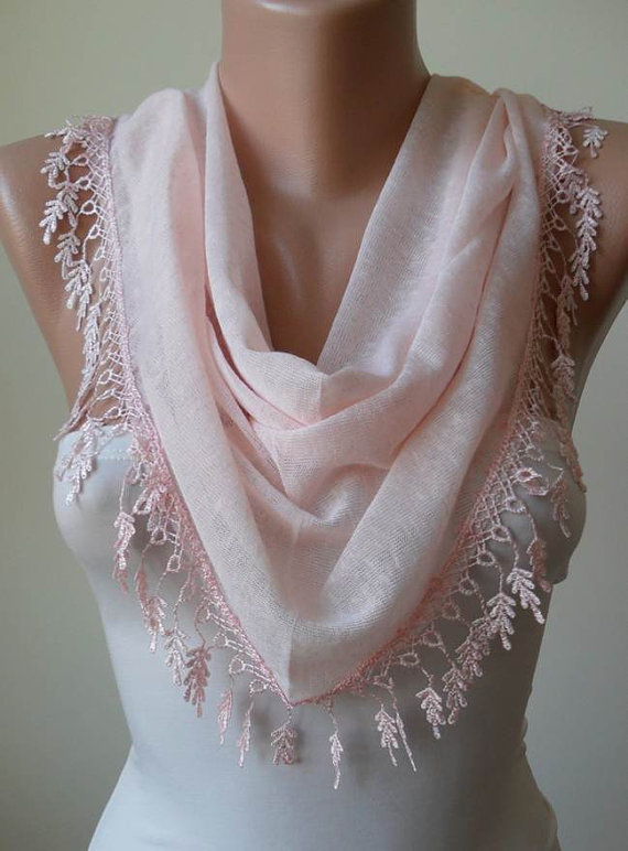 Light  Pink Scarf with Trim Edge - Triangular