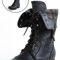 Jetta25 Combat Back Zip Mid Calf Boots BLACK