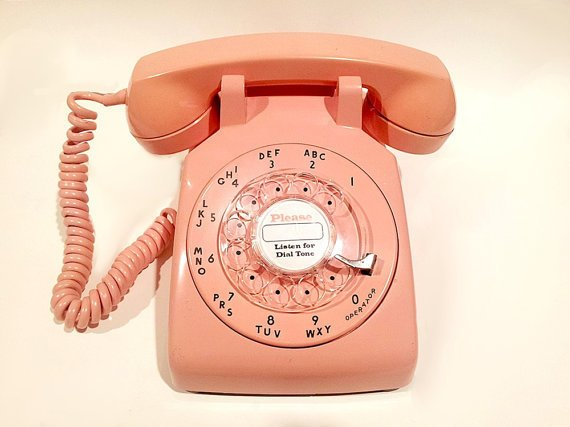WORKING - Pink Rotary Phone Telephone 1969