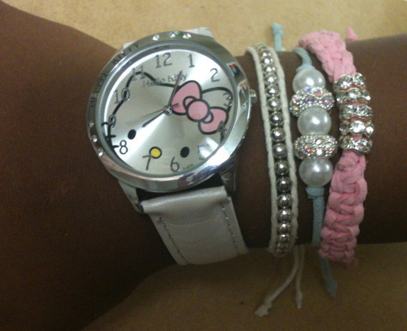 Stacking Arm Candy Bracelets and Watch  Set of 4 White, Turquoise and Pink With Silver-Hello Kitty