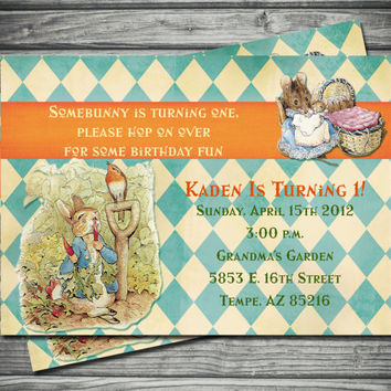 Peter Rabbit Birthday Invitation