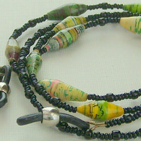Beaded Eyeglass Holder Green Yellow and Black Bead For Life Beads