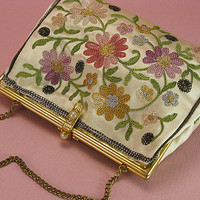 Vintage French Embroidered Evening Bag