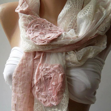 Pink /  Elegance Shawl / Scarf with Lace Edge-