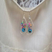 Neon Evil Eye Cascading Earrings