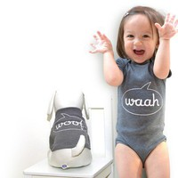 Waah Woof  Baby Onesuit and Dog T by babawowo on Etsy