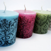 CUSTOM- Damask Votive Candle, Scented, Set of 3