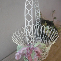 lovely Lacey Wire mesh Wedding Flower Girl Basket ... with Vintage French seam binding