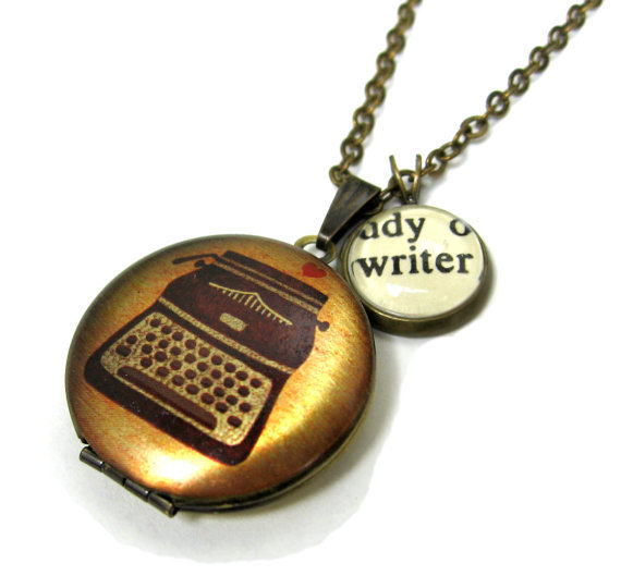 Typewriter Painted Locket Writer Love Writing Word Mini Pendant Brass Setting Library Card Necklace One of a Kind