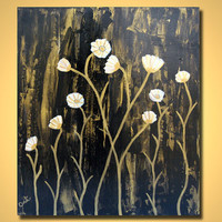 SALE Field of Poppies ORIGINAL Large Abstract Modern Art Heavy Textured Acrylics Flowers Contemporary Gold Black Metallic Painting Cream