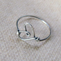 Wire Heart Ring, sterling silver filled, simple, cute, hand formed, hammered, oxidized, texture