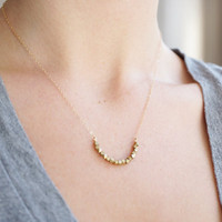Brass Rock Crescent Necklace
