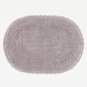 "20"" x 30"" Grey Oval Crochet Bath Mat"