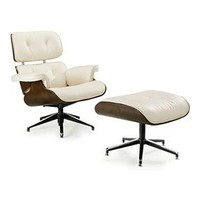 Herman Miller Style Office Chair and Ottoman Set Vanilla, Lounge Chair & Ottoman: Nyfurnitureoutlets.com