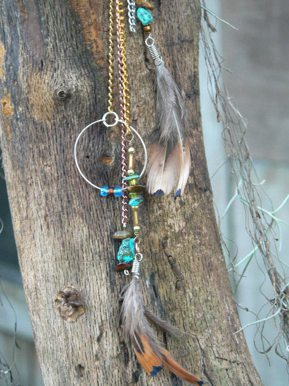 turquoise tigers eye ear cuff wrap feather native american inspired and tribal gypsy boho hippie style