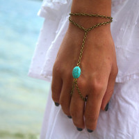 Slave Bracelet Hipster Bronze Chain Bohemian One Turquoise Bead Two Strand Hand Jewelry Piece