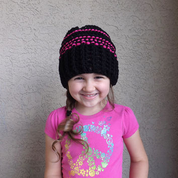 NEW! Adorable Crochet Slouchy Striped Kids Hat /BLACK/, Kids Beanie, Fashion Fall-Winter Kids Accessories 2014
