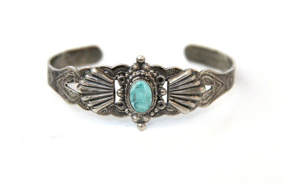 Vintage Fred Harvey Era Turquoise Navajo Bracelet
