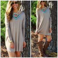 SZ LARGE Time Well Wasted Taupe Long Sleeve Dress