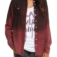 Ombre Black & Red Plaid Top