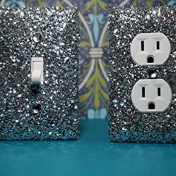 SET Chunky SILVER Glitter Switch Plate Outlet Covers ALL Styles Available! ***************************************************************************************************** GIRLS ROOM DECOR / TEEN ROOM **************************************************