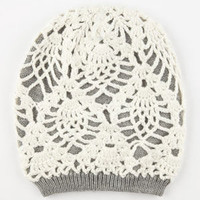 Double Layer Crochet Beanie Grey Combo One Size For Women 24521356801