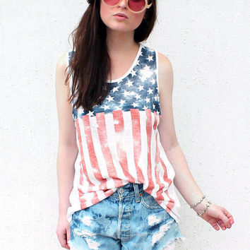USA American Flag Distressed Print Sleeveless Vest Top