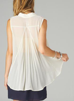 Cream Blouse with Front Button Closure&Pleated Back