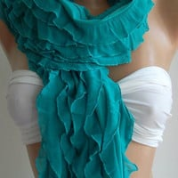 Chiffon - Turquoise -  Elegance  Shawl / Scarf-