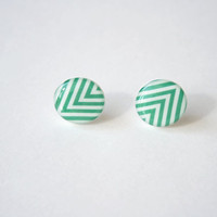 Chevron Patterned Post Earrings in Jungle Green