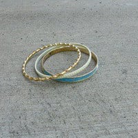 Gold-Bangle — White, Blue, & Gold Bangles