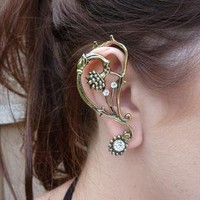 Vintage Style Leaf Flower Rhinestone Ear Cuff from 16 Braunton