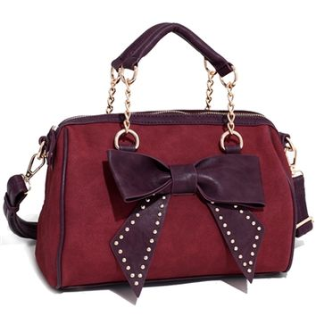 HauteChicWebstore Bow Accented Shoulder Bag in Red