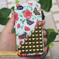 Antique Brass Pyramid Stud Beautiful Flower,Cute Butterfly Hard Case for Apple iPhone 4 ,iPhone 4s,iPhone 4 Hard Case,iPhone Case MB588