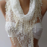 Pearl White - Elegance  Shawl -- Scarf with Lacy Edge--