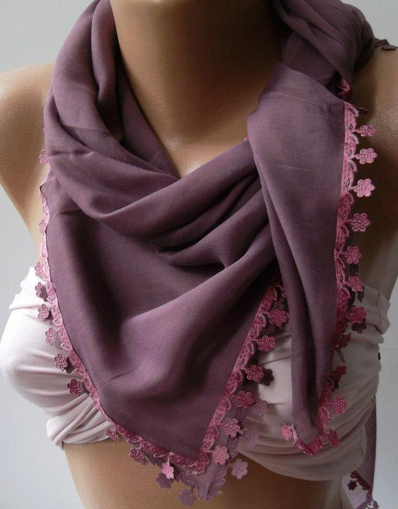 Lilac Shawl with Lace - Turkish Shawl - Anatolians Scarf - Yemeni-
